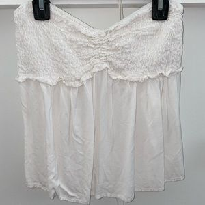 strapless ruffled chest top